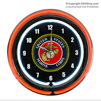 Z Marines Wall Clock: Neon