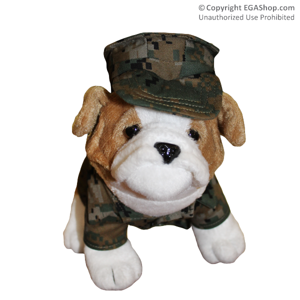 Plush: Marine Corps Bulldog in Digital Woodland Camo (9 inch)