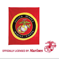 Blanket: Fleece, Red w/ Marine Insignia