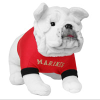 Plush: Marine Bulldog in Red Shirt
