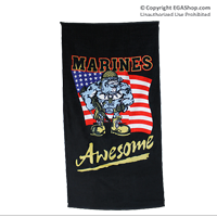 Beach Towel: Awesome Marine Bulldog