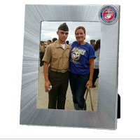 Photo Frame: Aluminum w/ Pewter USMC Seal