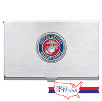 Business Card Case: Marine Corps Seal Enamel Red