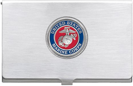 Business card case marine corps seal enamel red for Marine corps business cards