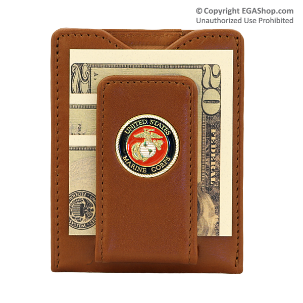 Wallet (Money Clip): Leather w/ Marine Corps Seal