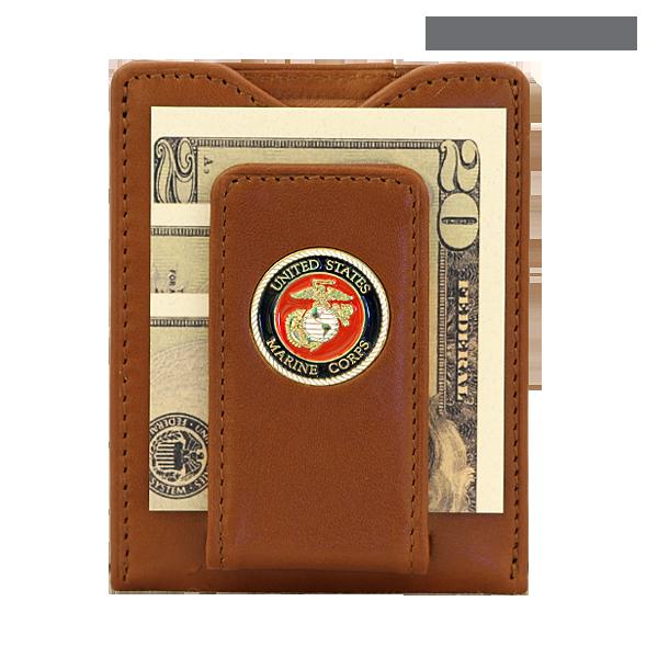 U.S NEW USMC United States Black Billfold Marines Leather Money Clip Wallet