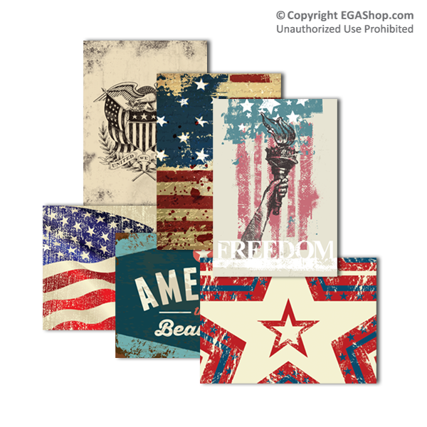 Greeting Card: PATRIOTIC SET, 6 Designs (Pkg of 6)
