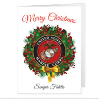 Christmas Cards: USMC Seal Wreath (Pkg of 12)