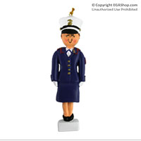 Ornament: Female Marine in Dress Blues Brunette