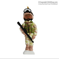 Z Ornament: Female Marine in Digital Fatigues African American
