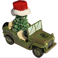 Ornament: Jeep w/ Christmas Tree, Marine Corps