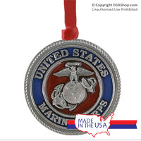 Ornament: Marines, Eagle Globe & Anchor-Enamel Red (Pewter)