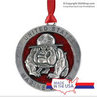 Ornament: USMC Bulldog-Enamel Red (Pewter)