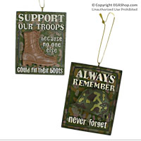 Ornament: Support Our Troops and Always Remember Never Forget