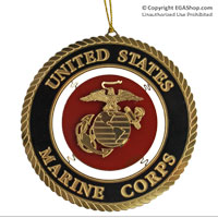 Ornament: Marine Corps Seal, Brass Relief