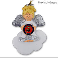 Ornament: Angel, God Bless USMC