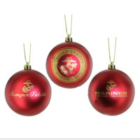 Ornament: Shatterproof Marine Corps (Set of 3)