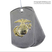 Ornament: Dog Tag with Eagle, Globe and Anchor