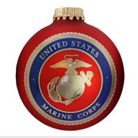 Ornament: USMC Logo Glass Ball