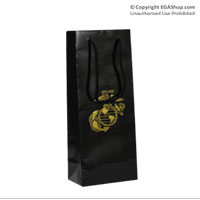 Gift Bag: Black Gloss with Gold Eagle Globe and Anchor