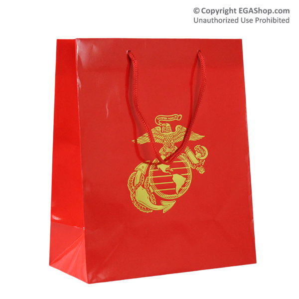 Gift Bag: Red Gloss with Gold Eagle Globe and Anchor
