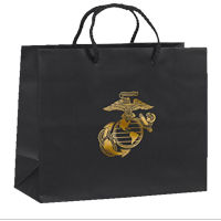 Gift Bag: Black Matte with Gold Eagle Globe and Anchor