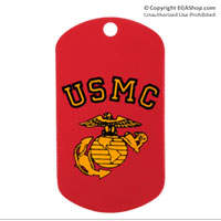 Dog Tag: Red with Gold USMC and Eagle, Globe and Anchor