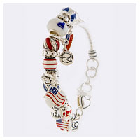 Z Bracelet, Patriotic Charms (Silver-color finish)