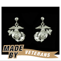 Earrings, Eagle Globe and Anchor