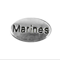 Floating Locket Charm: Marines Silver Oval
