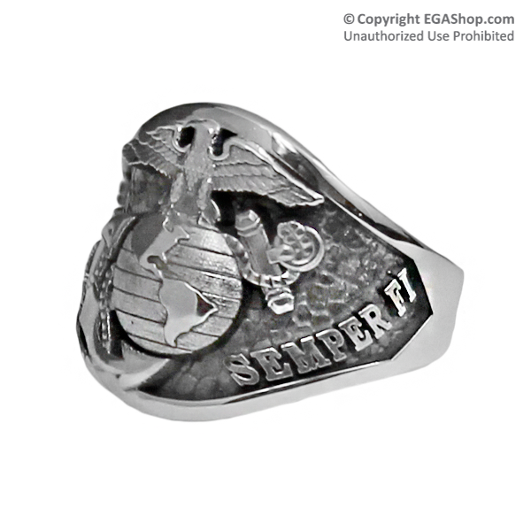 Sterling Silver Semper Fi Graduation Ring