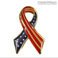 Lapel Pin, Stars and Stripes Ribbon