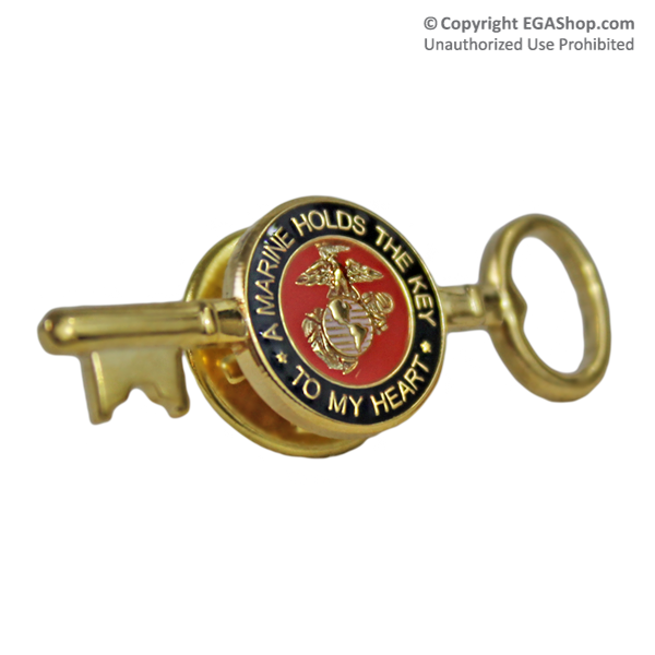 Lapel Pin, A Marine Holds The Key To My Heart