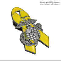Lapel Pin, Yellow Ribbon with Eagle, Globe and Anchor