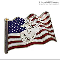 Lapel Pin, American Flag with Eagle, Globe and Anchor