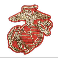 Magnet: Eagle Globe & Anchor (gold on red)