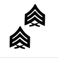 Chevron, Marine Corps: Sergeant (black metal, solid brass)