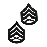 Chevron, Marine Corps: Staff Sergeant (black metal, solid brass)