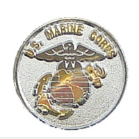 Lapel Pin, US Marine Corps and EGA (circular, silver)