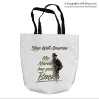 Tote Bag: My Marine has your Back (16x16)