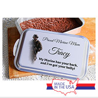 Cake Pan w/ Personalized Lid: My Marine has your back...