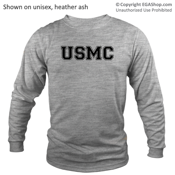 _Long Sleeve Shirt (Unisex): USMC Varsity