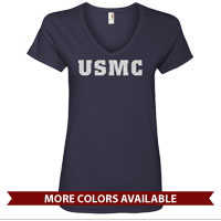 _Ladies V-Neck: USMC