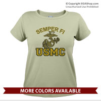 _T-Shirt (Ladies): Semper Fi (EGA) USMC