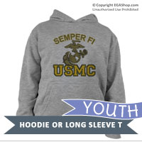 _Youth Hoodie or Long Sleeve Shirt: Semper Fi (EGA) USMC