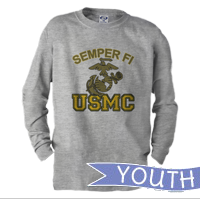 _Youth Long Sleeve Shirt: Semper Fi (EGA) USMC