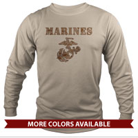 _Long Sleeve Shirt (Unisex): Marines Camo