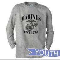 _Youth Long Sleeve Shirt: Marines Est 1775