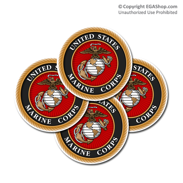 Coaster Set: Marine Corps Seal (Sandstone or Rubber)