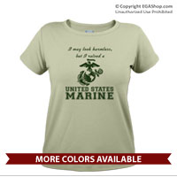 _T-Shirt (Ladies): I may look harmless... -EGA